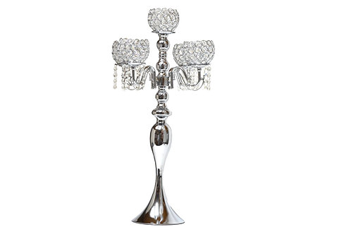 Candle Holder  Stand 5 Arm Crystal Bead Candelabra