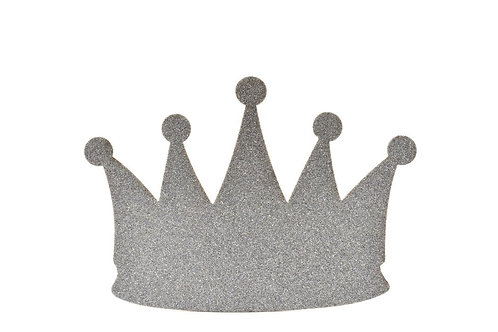 Silver Baby Shower Banner-Prince Crown Glitter Foam Party Banner