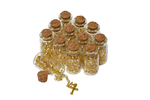 Gold Rosary Cross Necklace-Rosary in Glass Jar Bottle