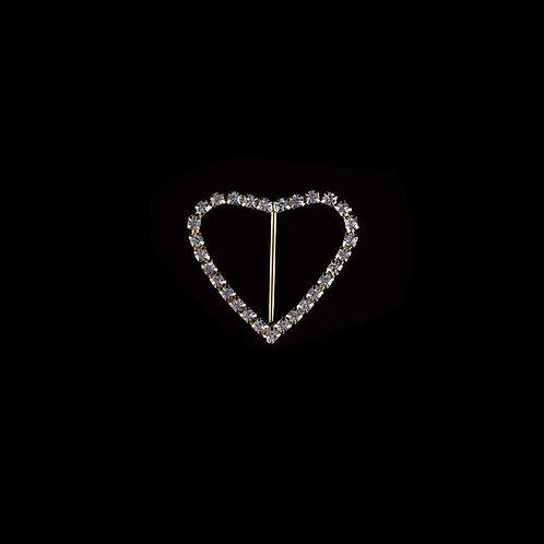 Rhinestone Brooches-Rhinestone Heart Buckle