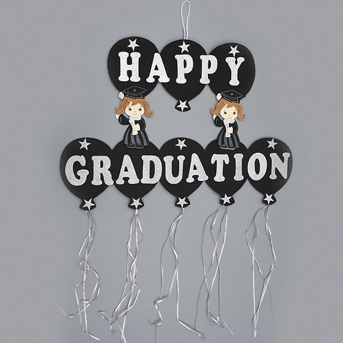 Happy Graduation Banner-Silver Foam Graduation Banner