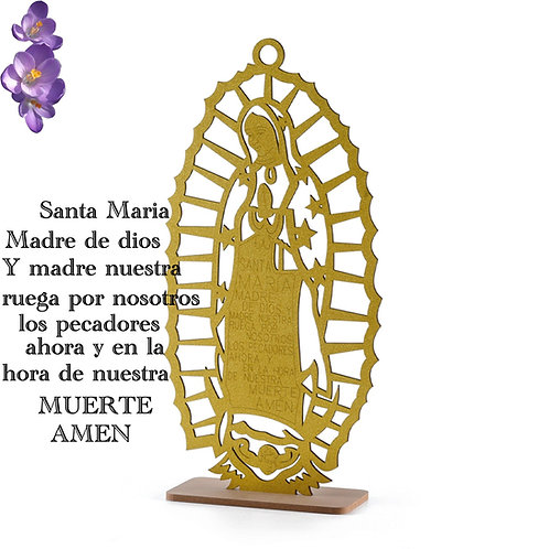 Gold Baptism Centerpieces-Large Wood Laser Cut Our Lady Of Guadalupe