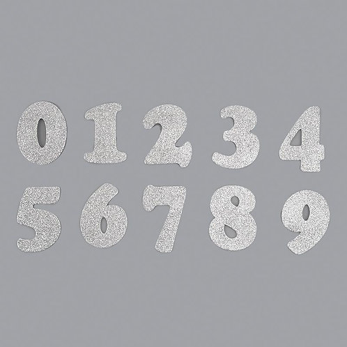 Foam Number Silver Glitter