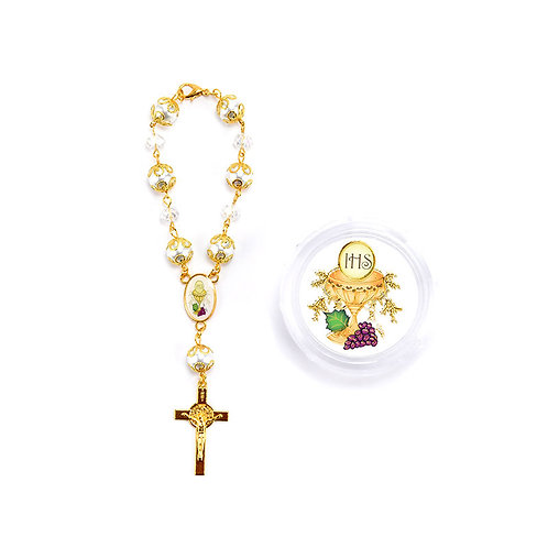 Gold Communion Rosary Favors-Crucifix Pearl Rosary Bracelet With Gift Box.