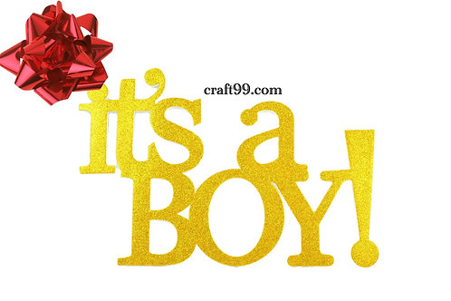 Gold Baby Shower Banner-It's A Boy Wall Hanging Party Decorations
