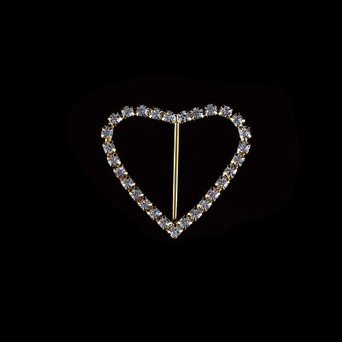 Rhinestone Brooches-Rhinestone Heart Brooch Pin