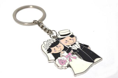 Keychain Wedding Favors-Wedding Couple with Gift Box