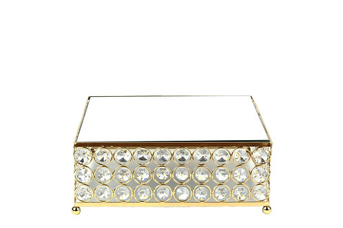 Gold Cake Stand Glass Mirror Top Crystal Bead Wedding Cake Stand 10 Inches