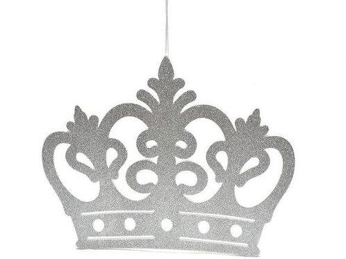 Silver Baby Shower Banner-Princess Crown Glitter Foam Banner