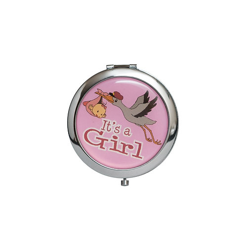 Pink Mirror Compact Gifts-Baby Shower Favors-Stork Design