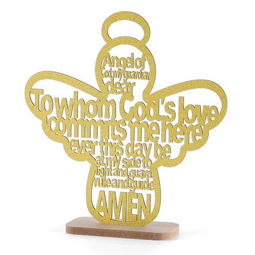 Gold Baptism Centerpieces Angle Wood Laser Cuts
