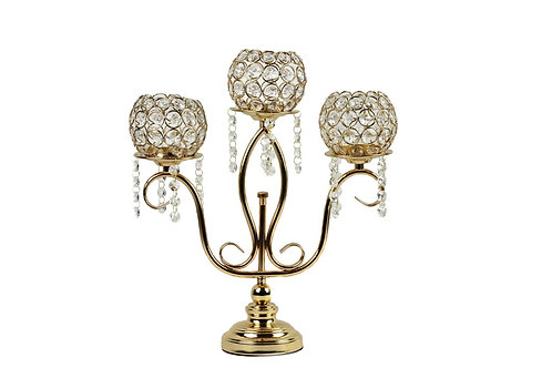 Gold Candle Holder Stand 3 Arm Candelabra Table Centerpieces