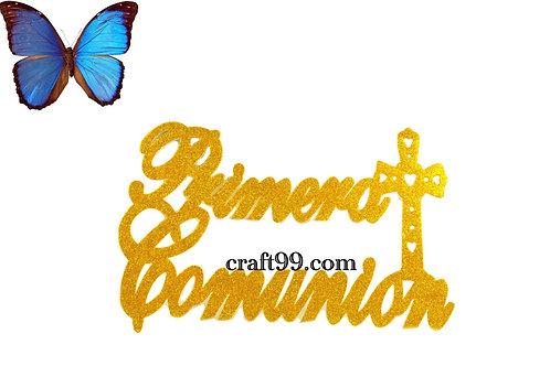 First Communion Banner Glitter Foam Cutouts-XL.