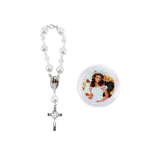 Silver Wrist Rosary Crucifix Pearl Rosary-Quinceanera-Gift Box.