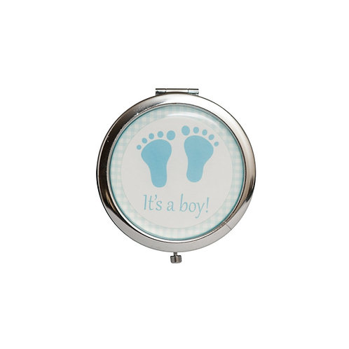 Blue Mirror Compact Gifts-Baby Shower Favors-Baby Foot Symbol