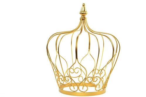 Metal Crown Centerpiece Decoration Gold - White