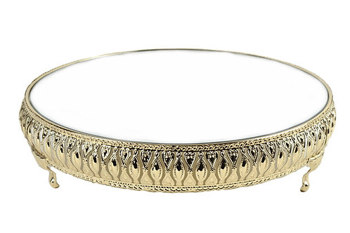 Gold Cake Stand Mirror Top Wedding Cake Stand 14 Inches.