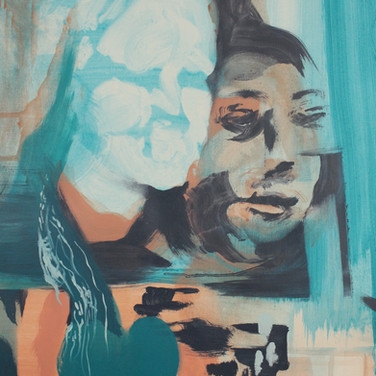 Untitled (Blue Face), detail, SOLD