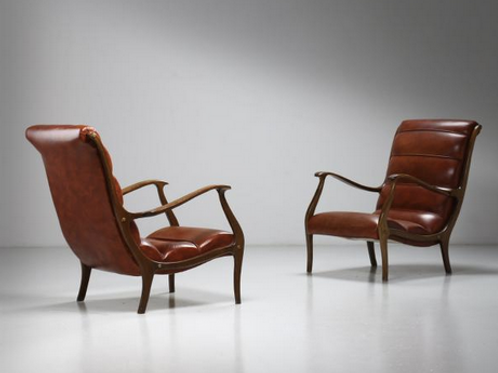 Italian Lounge chairs by Longhi Ezio, 1950s