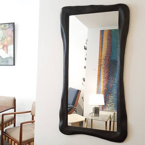 Carved ebonised ash wooden Mirror