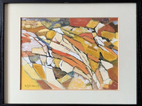 Geometric Cubist composition signed