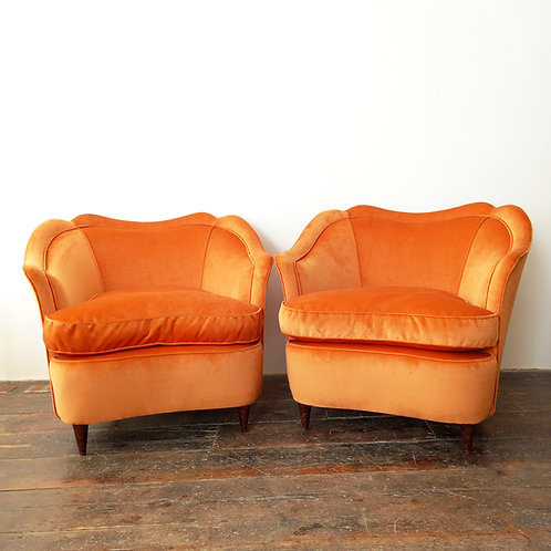Velvet Armchairs By Gio Ponti For Casa Giardino, 1940s, Set Of 2
