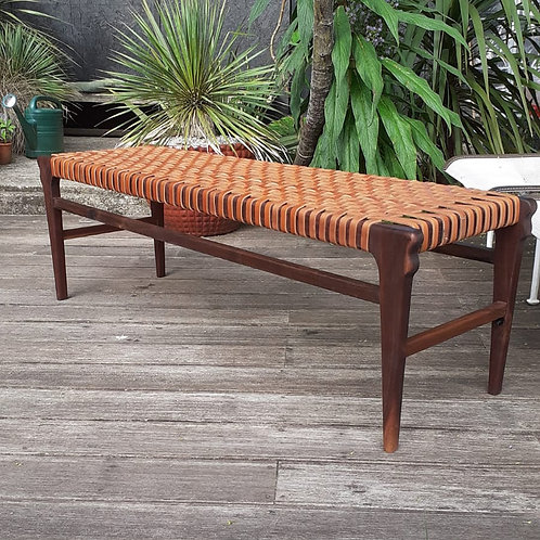 Walnut Bench with Leather Webbing