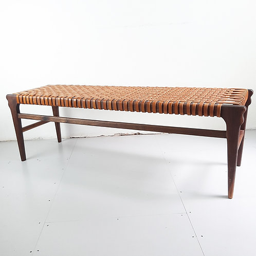 Walnut Bench with Leather Webbing