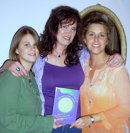 From left, Bonnie, Catherine, and Carolyn at the filming f the author's infomercial in November 2006.