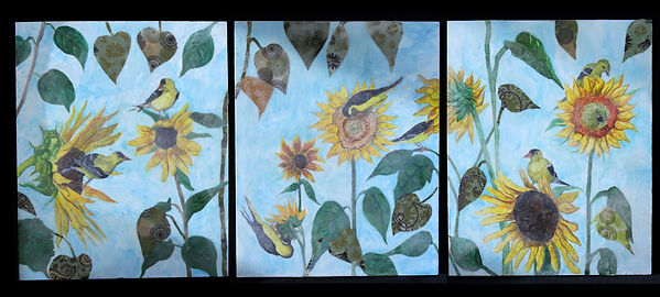 "Sunflowers and Goldfinches, 2018 16"" x 60"""