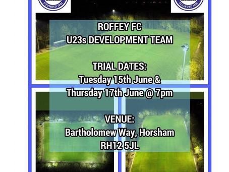 Roffey U23s Development Squad Trial Dates