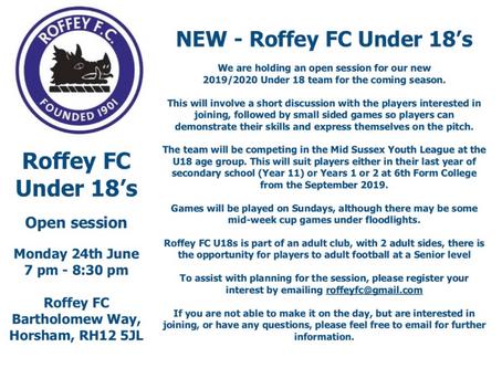 NEW ROFFEY FC 2019 U18 SIDE