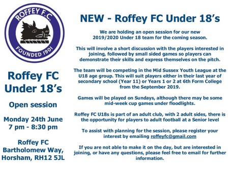 NEW ROFFEY FC 2019 U18 SIDE