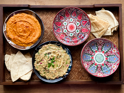 Mezze platter: Roasted Red Pepper Hummus and Oven Roasted Eggplant with Feta cheese
