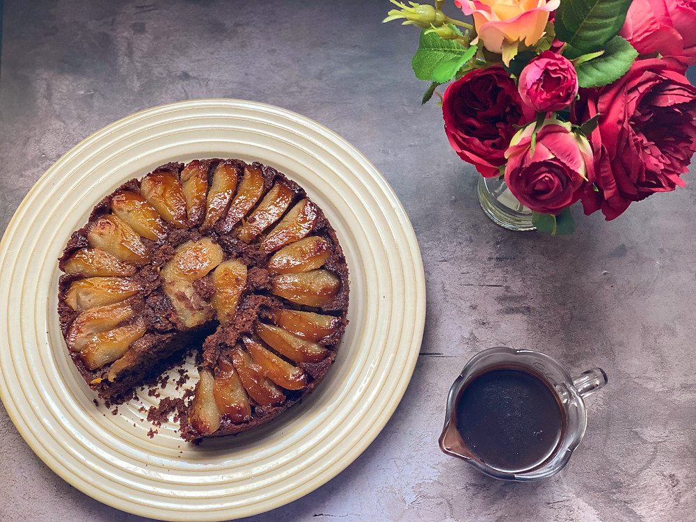 a picture of chocolate and pear cake
