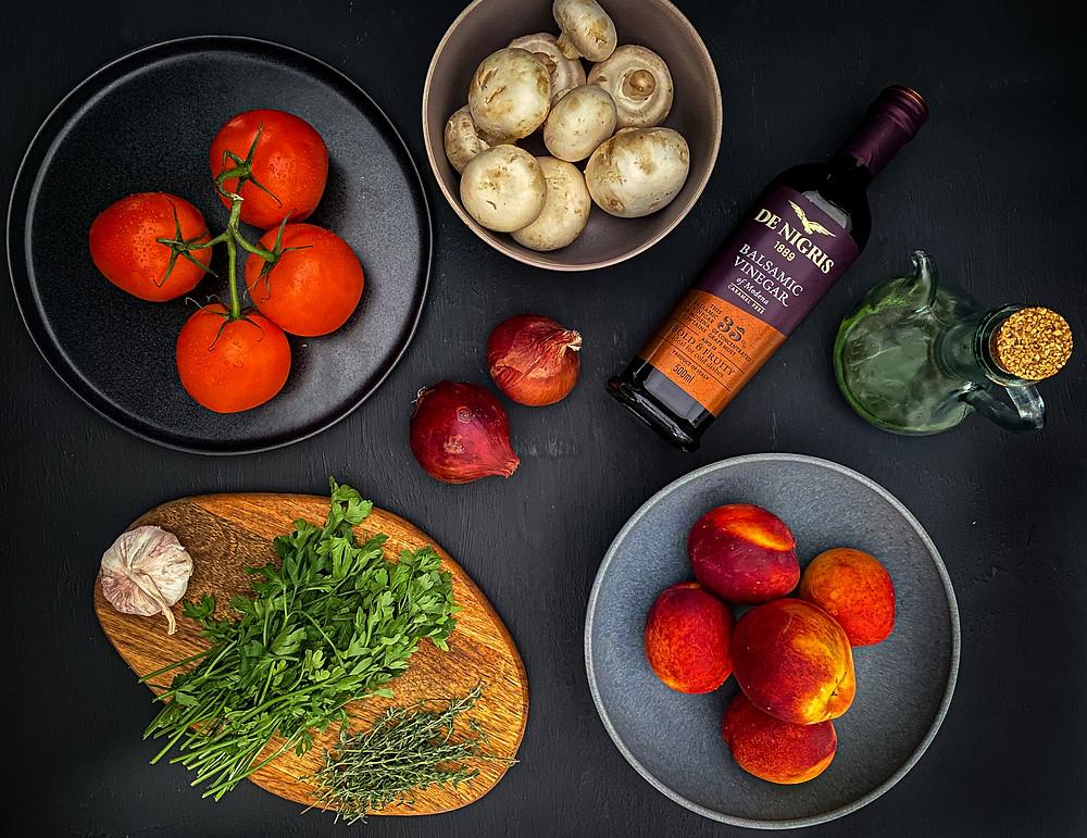 ingredients to make  bruschetta toppings