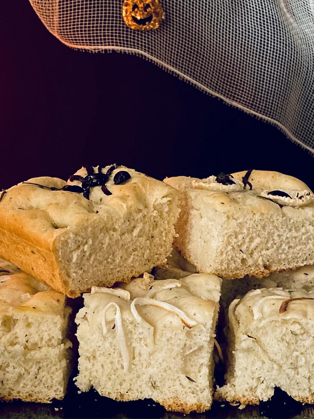 halloween special soft delicious focaccia bread