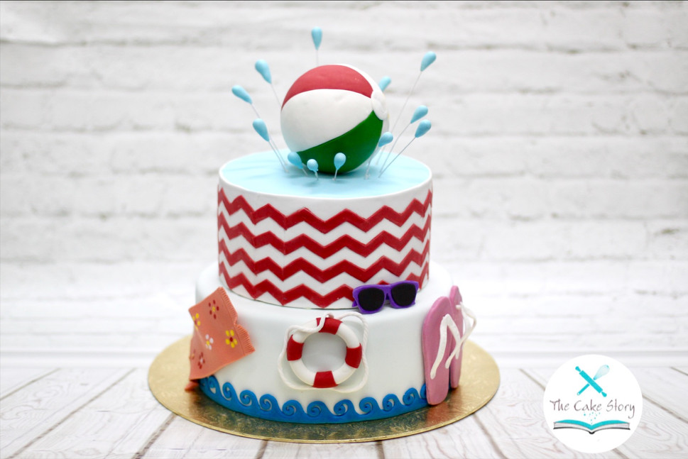 Pool themed cake