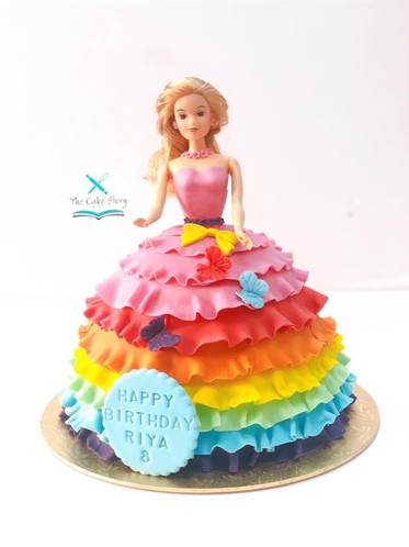 Barbie cake with rainbow colors