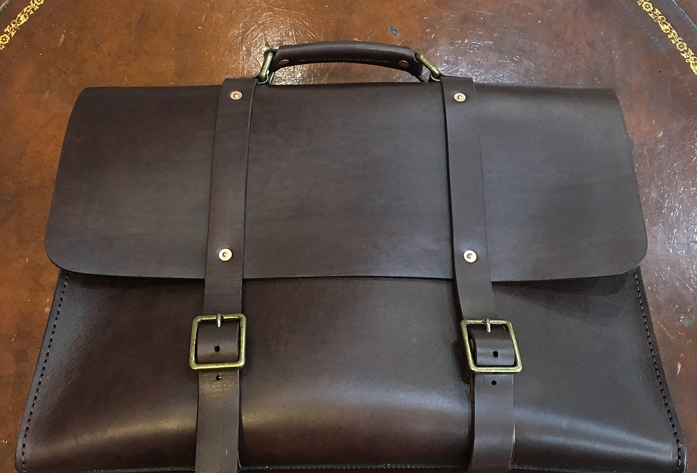Black Leather Gentleman's Brief Case
