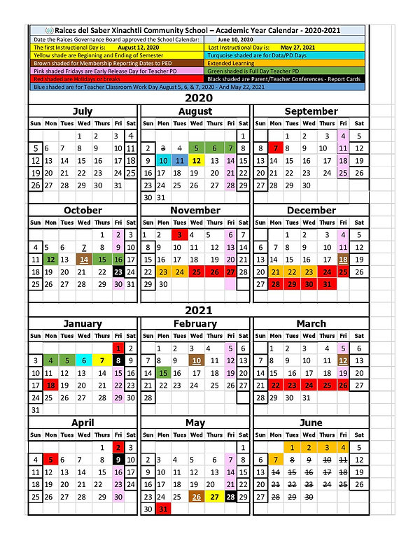 Raices del Saber School Year Calendar 20