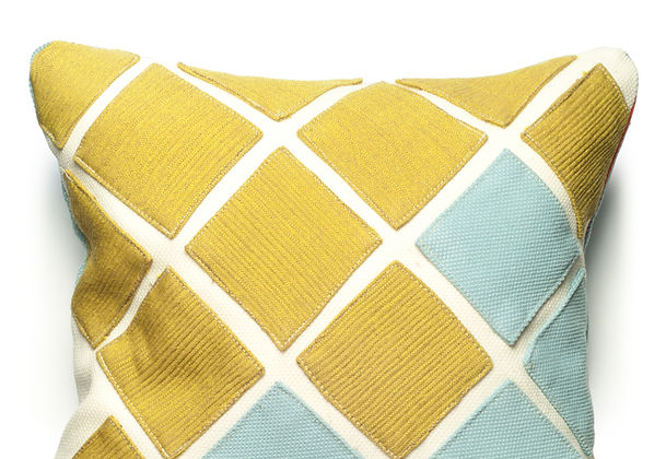 White/Blue Steelcut and Yellow Tokio by Kvadrat on All Kvadrat Squares.