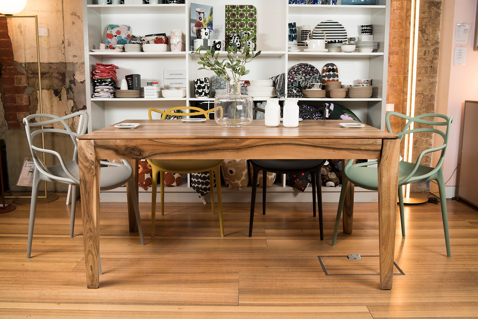Rectangular, extendable, solid wood dining table