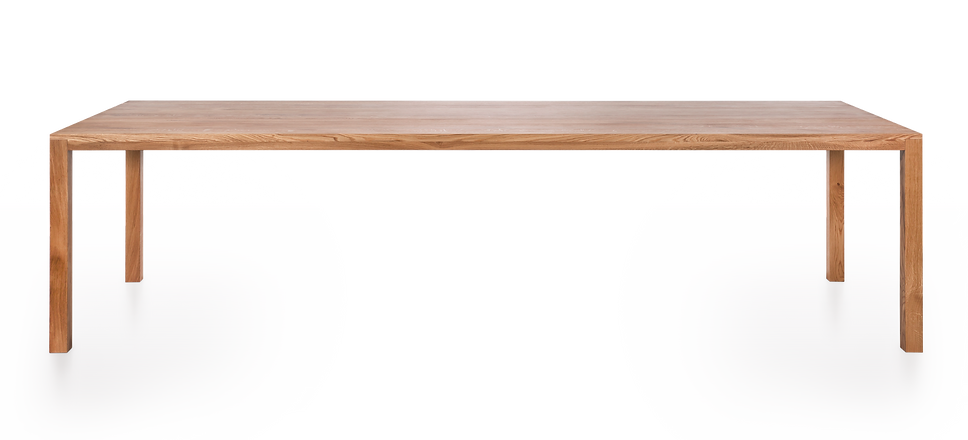 Rectangular, solid wood dining table