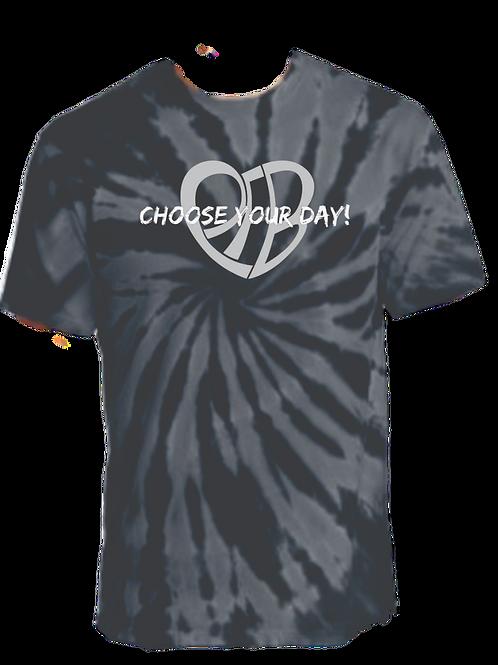 CHOOSE YOUR DAY Logo Tie Dye (Black & Grey)