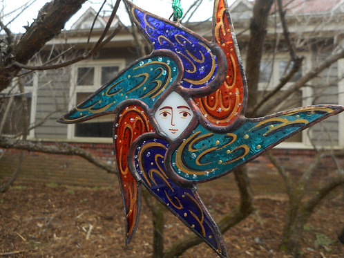 Stained Glass Seraphim Ornament turquois/blue/red with gold markings