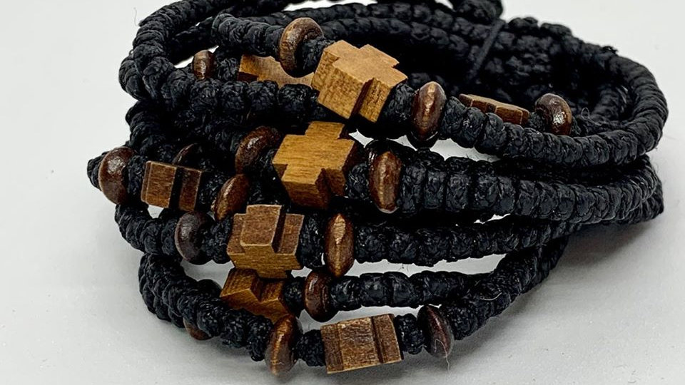 Athos Komboskini bracelet with wooden cross