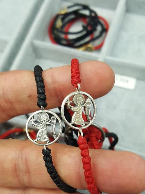 Silver angel with stars red medium/large komboskini bracelet