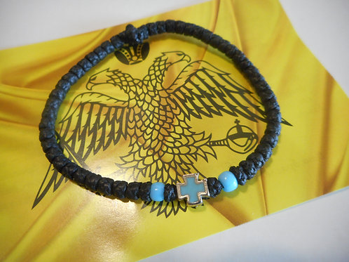 Athos Komboskini bracelet black with light blue cross and two beads small/medium