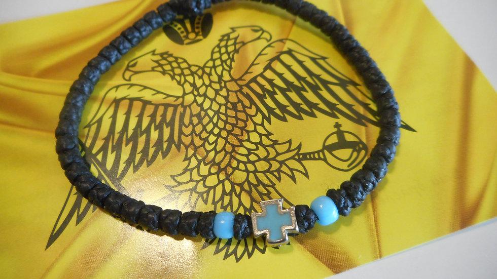 Athos Komboskini bracelet black with light blue cross and two beads